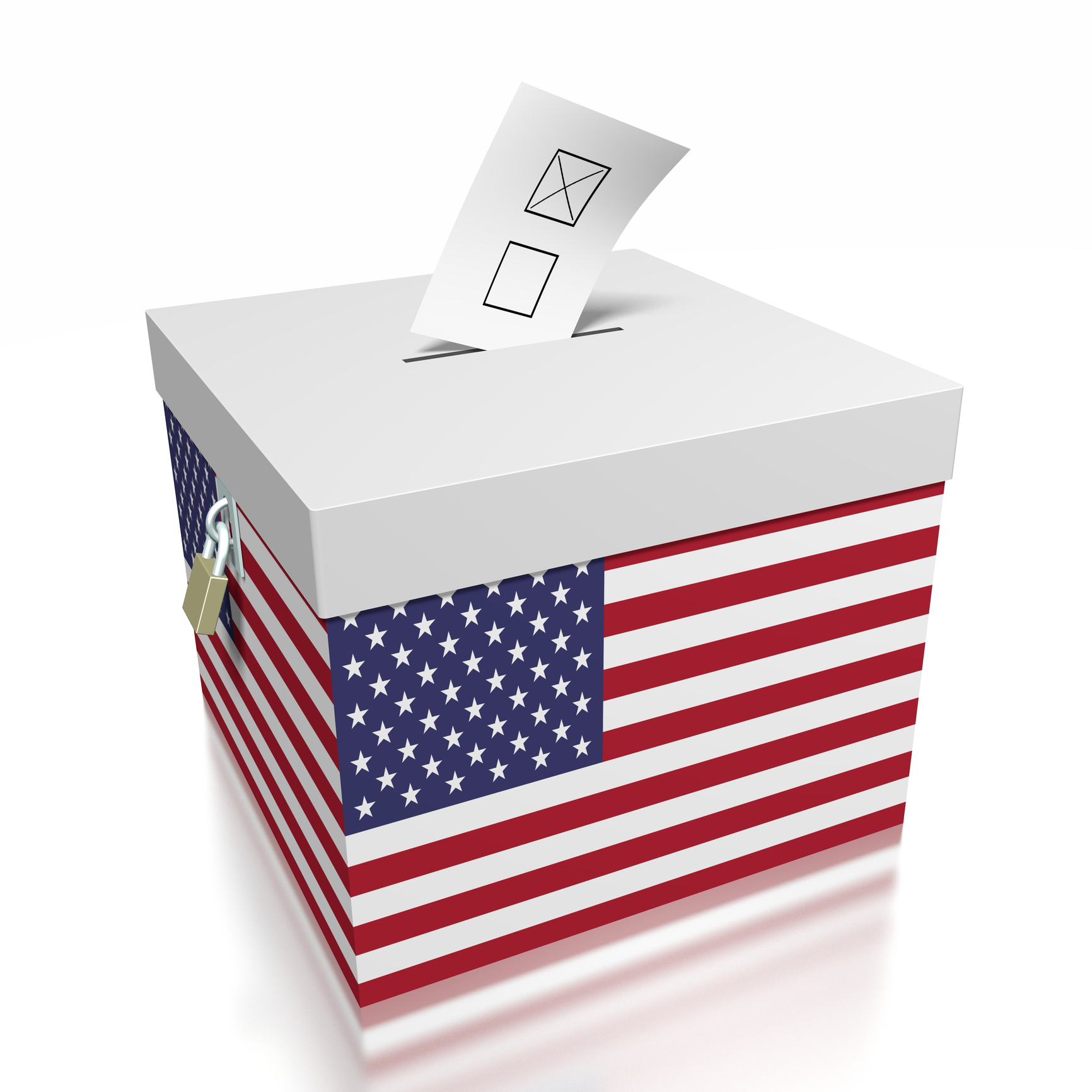 3D ballot box with a flag - great for topics like ellection/ voting etc.